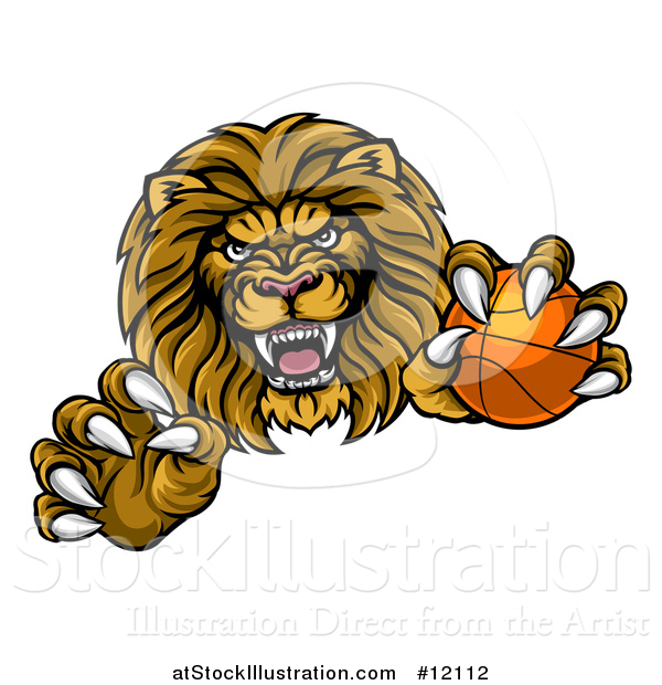Vector Illustration of a Tough Clawed Male Lion Monster Mascot Holding a Basketball
