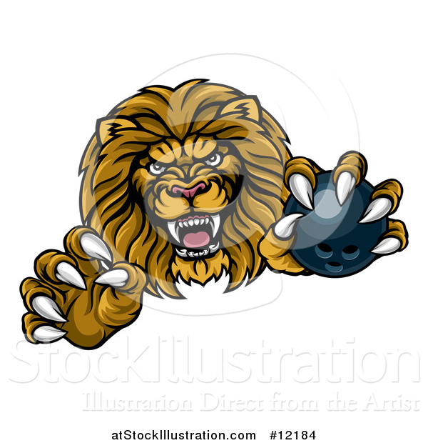 Vector Illustration of a Tough Clawed Male Lion Monster Mascot Holding a Bowling Ball