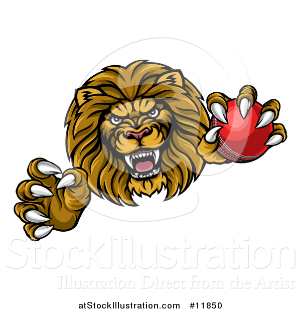 Vector Illustration of a Tough Clawed Male Lion Monster Mascot Holding a Cricket Ball