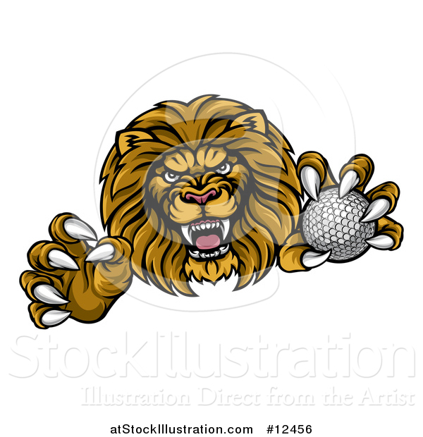 Vector Illustration of a Tough Clawed Male Lion Monster Mascot Holding a Golf Ball