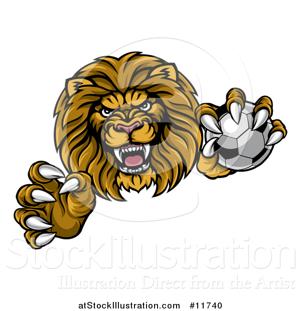Vector Illustration of a Tough Clawed Male Lion Monster Mascot Holding a Soccer Ball
