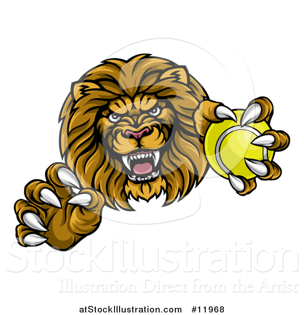 Vector Illustration of a Tough Clawed Male Lion Monster Mascot Holding a Tennis Ball