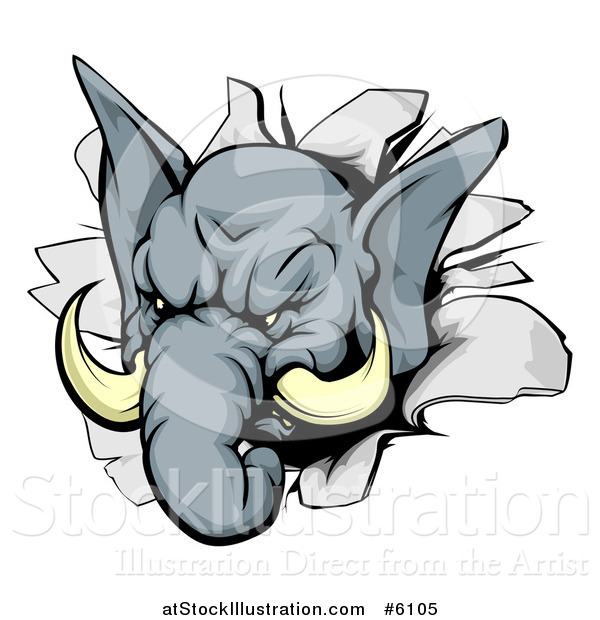 Vector Illustration of a Tough Elephant Breaking Through a Wall
