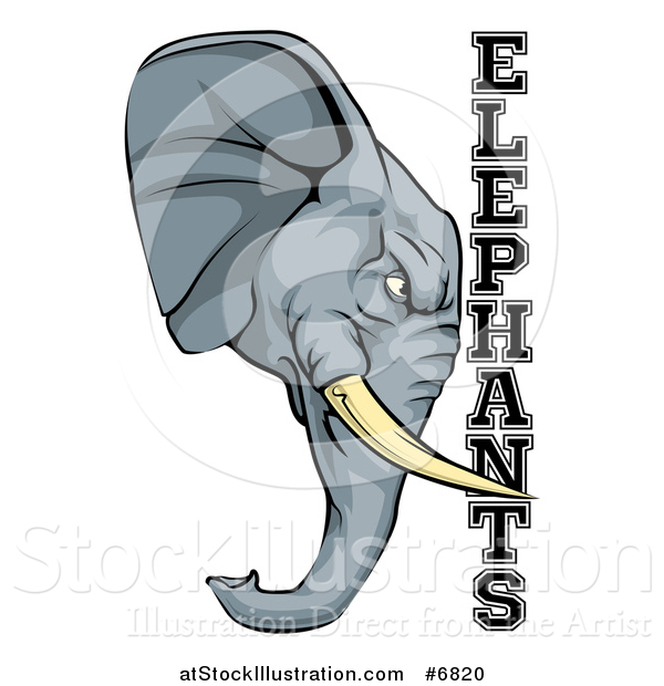 Vector Illustration of a Tough Gray Elephant Mascot Head and Text