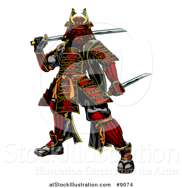 Vector Illustration of a Tough Japanese Samurai Warrior Holding Swords