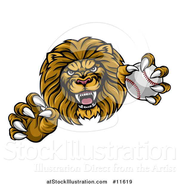 Vector Illustration of a Tough Male Lion Head Mascot Holding a Baseball