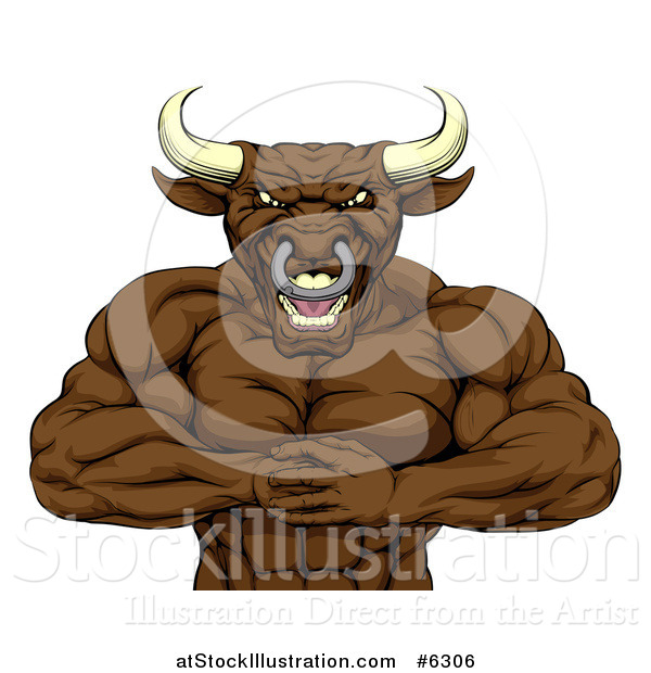 Vector Illustration of a Tough Muscular Bull Man Punching One Fist into a Palm