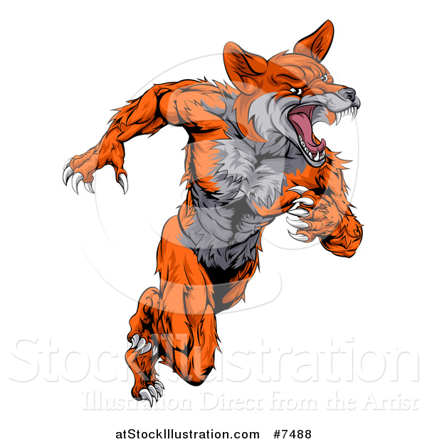 Vector Illustration of a Tough Muscular Fox Man Sprinting