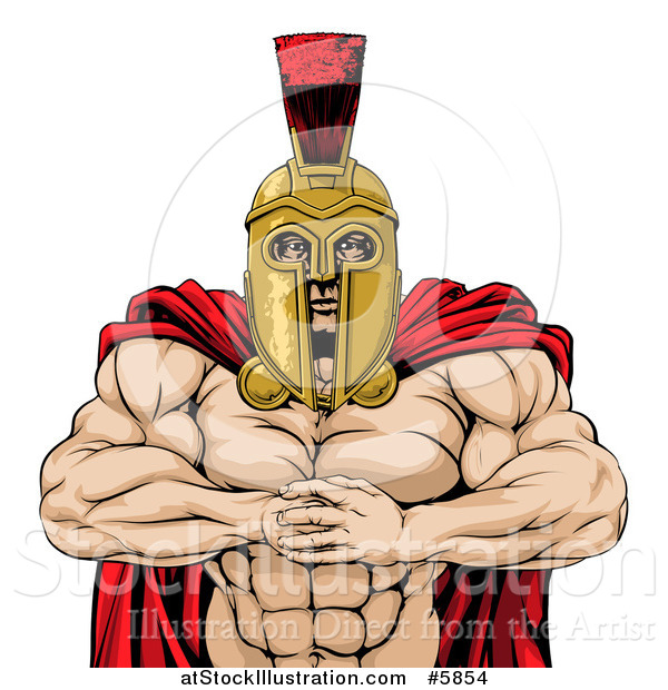 Vector Illustration of a Tough Muscular Spartan Warrior Man Gesturing Bring It with His Fists