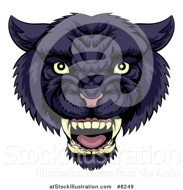 Vector Illustration of a Tough Roaring Black Panther Mascot Head