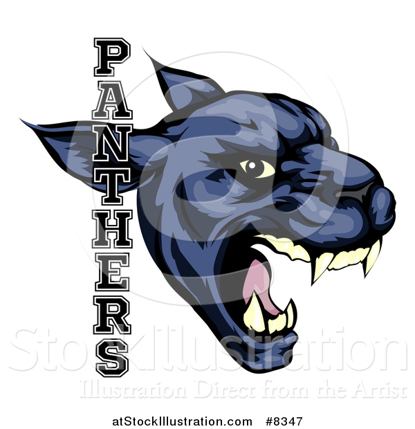 Vector Illustration of a Tough Roaring Black Panther Mascot Head with Text