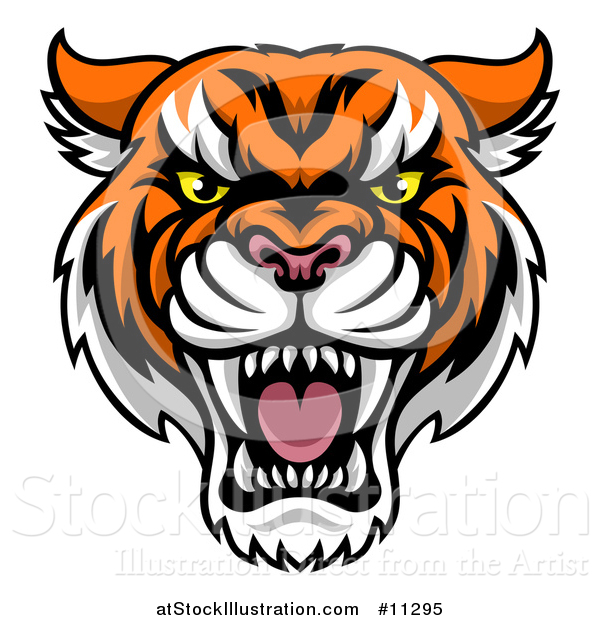 Vector Illustration of a Tough Tiger Mascot Face