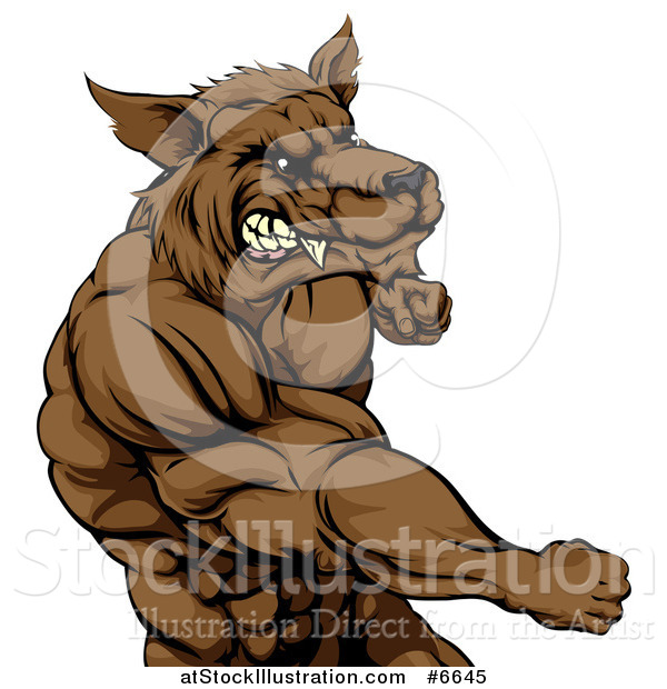 Vector Illustration of a Tough Vicious Muscular Brown Wolf Man Punching