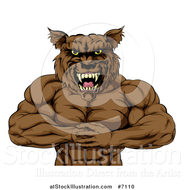 Vector Illustration of a Tough Vicious Muscular Brown Wolf Man Punching His Fist into Palm