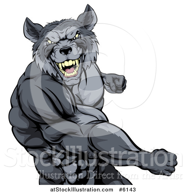 Vector Illustration of a Tough Vicious Muscular Wolf Man Punching