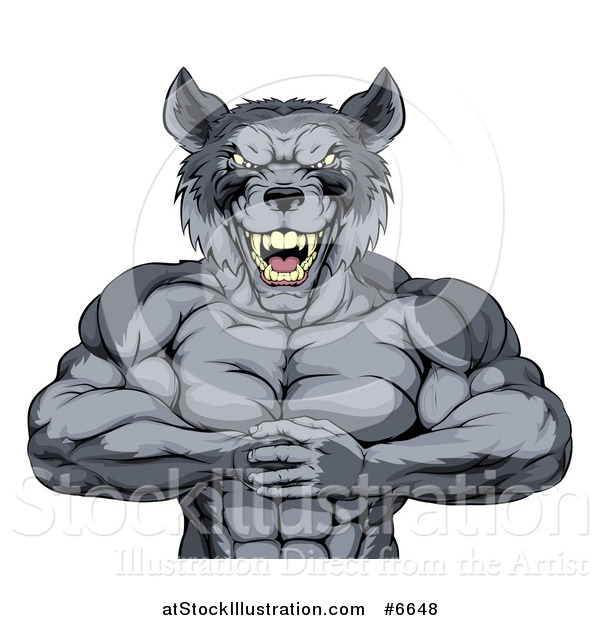 Vector Illustration of a Tough Vicious Muscular Wolf Man Punching His Fist into Palm