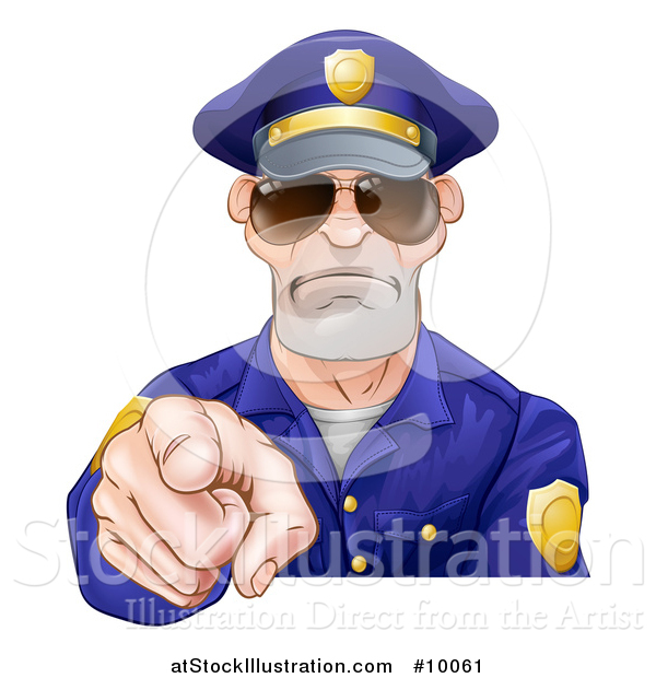 Vector Illustration of a Tough White Male Police Officer Wearing Sunglasses and Pointing Outwards