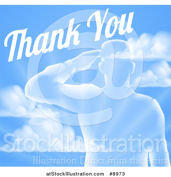 Vector Illustration of a Transparent Silhouetted Saluting Soldier over a Blue Sky and Ray Background with Thank You Text
