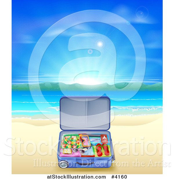 Vector Illustration of a Travel Suitcase Open on a Sandy Tropical Beach at Sunrise