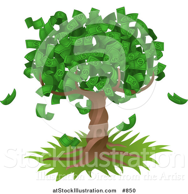 Vector Illustration of a Tree Growing an Abundant Amount of Dollar Bills, Symbolising Environmental Expenses, Trust Funds, Riches, Etc
