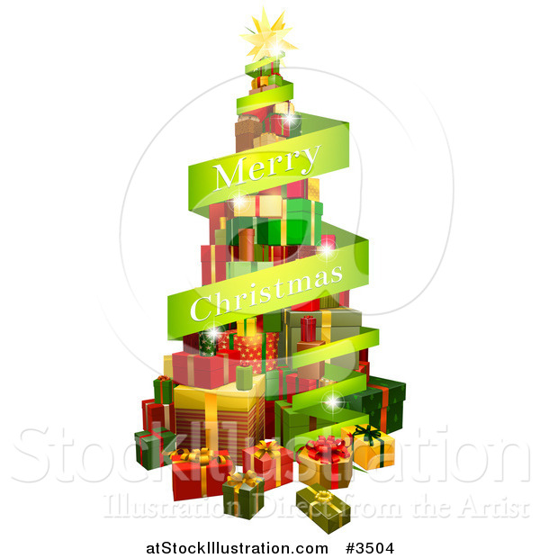 Vector Illustration of a Tree of Gifts and Merry Christmas Greeting Banner