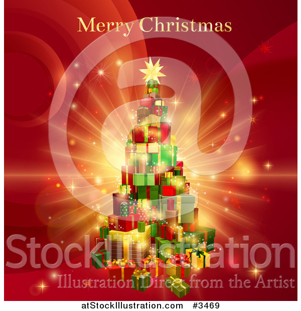 Vector Illustration of a Tree of Gifts and Merry Christmas Greeting on Red