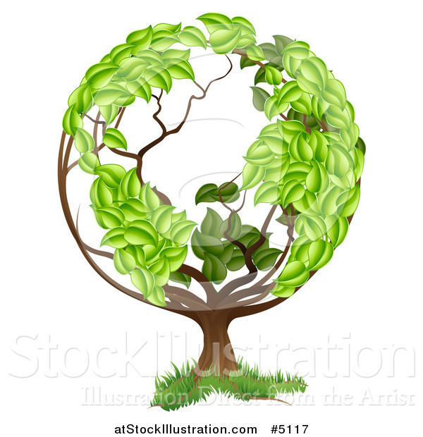 Vector Illustration of a Tree with a Leafy Earth Globe Canopy