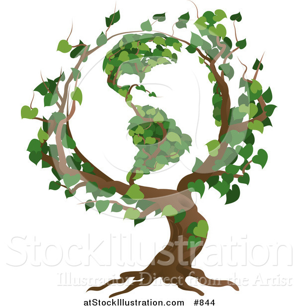 Vector Illustration of a Tree with Branches Growing in the Shape of the Earth with the America's Featured