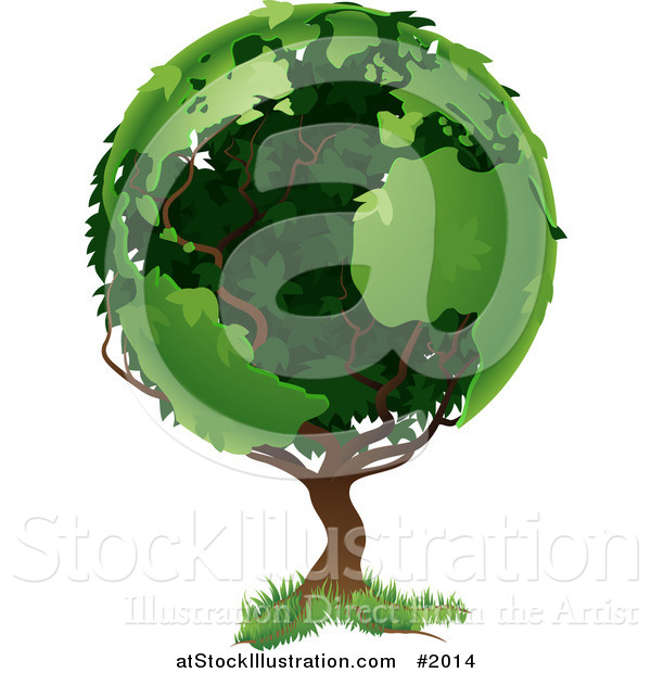 Vector Illustration of a Tree with Foliage in the Shape of Earth's Continents