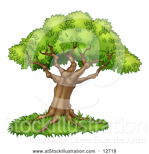 Vector Illustration of a Tree with Grass