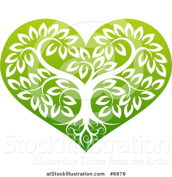 Vector Illustration of a Tree with Roots and Leafy Branches Inside a Gradient Green Heart
