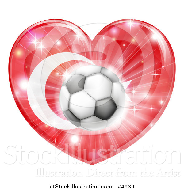 Vector Illustration of a Turkey Flag Heart and Soccer Ball