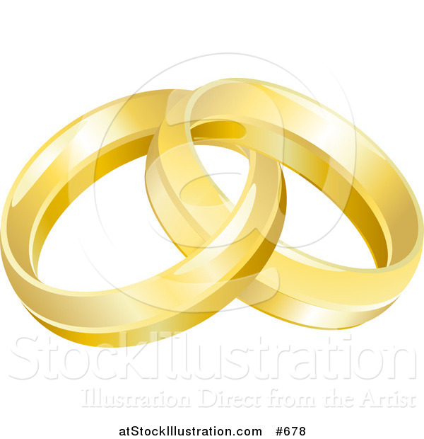 Vector Illustration of a Two Entwined Golden Wedding Rings