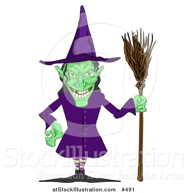 Vector Illustration of a Ugly Green Witch with a Broom