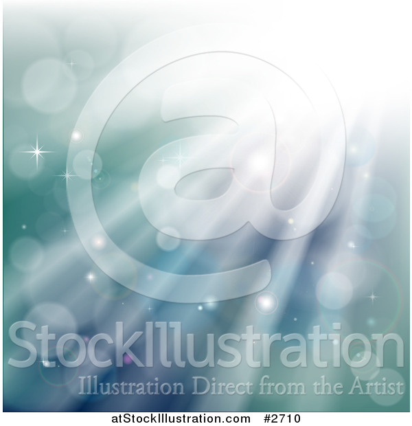 Vector Illustration of a Underwater Background of Sparkles Lights and Rays