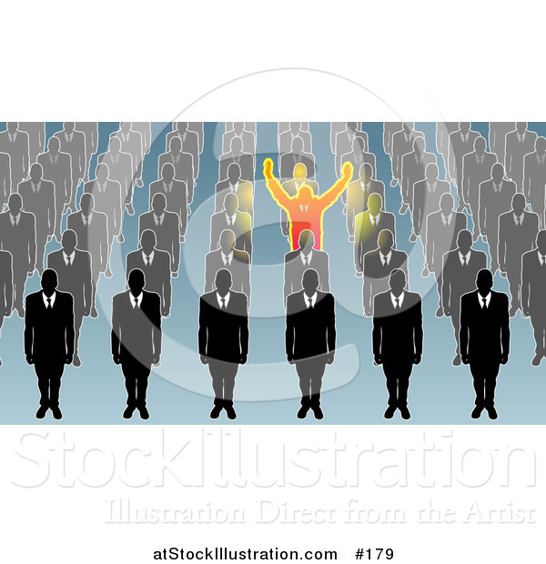 Vector Illustration of a Unique Business Man Holding His Arms Up, Surrounded by Men in Rows