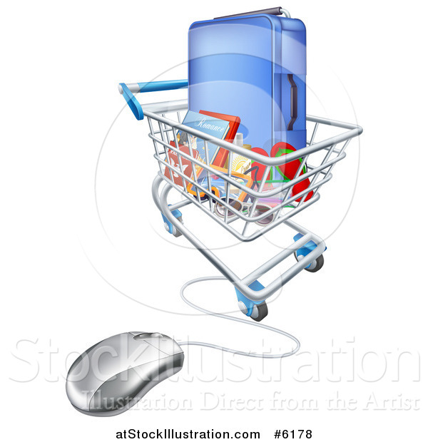 Vector Illustration of a Vacation Travel Booking Shopping Cart with Luggage and a Computer Mouse