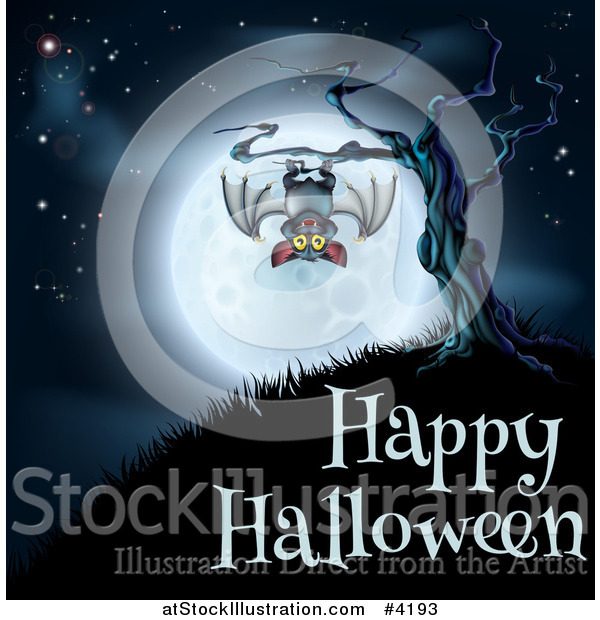 Vector Illustration of a Vampire Bat Hanging from a Spooky Tree Against a Full Moon over Happy Halloween Text