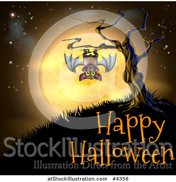 Vector Illustration of a Vampire Bat Hanging from a Spooky Tree Against an Orange Full Moon over Happy Halloween Text