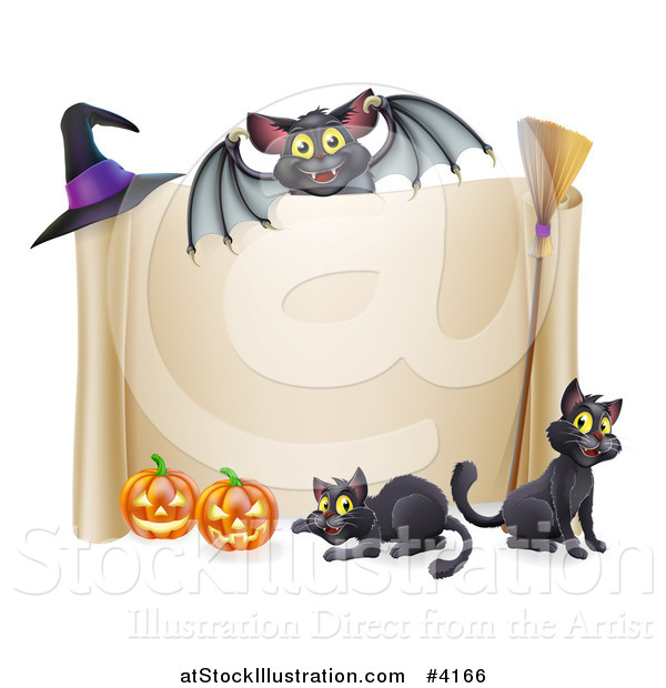 Vector Illustration of a Vampire Bat over a Halloween Scroll Sign with Black Cats a Broomstick Pumpkins and Witch Hat