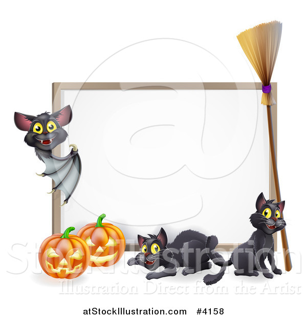 Vector Illustration of a Vampire Bat Pointing to a Halloween Sign with Black Cats a Broomstick and Pumpkins