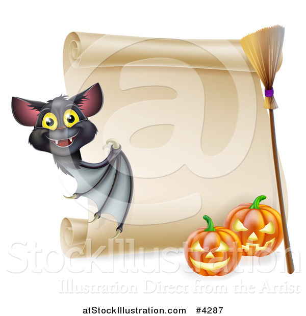 Vector Illustration of a Vampire Bat with a Halloween Scroll Sign a Broomstick and Pumpkins