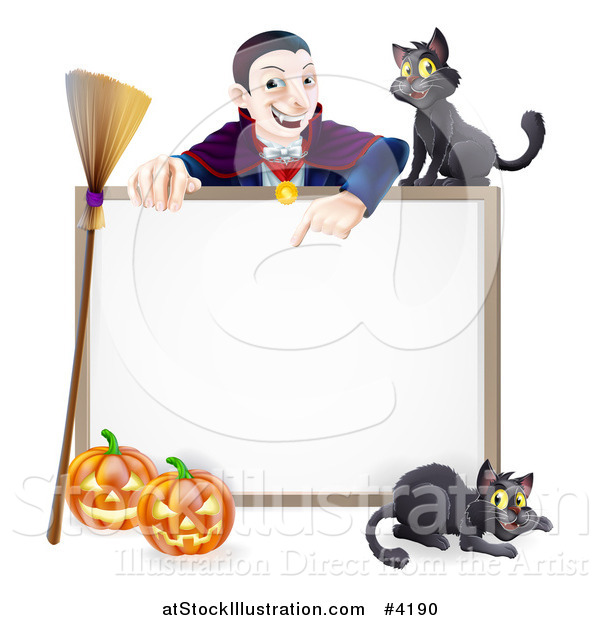 Vector Illustration of a Vampire Pointing down at a Halloween Sign with a Broomstick Black Cats and Pumpkins