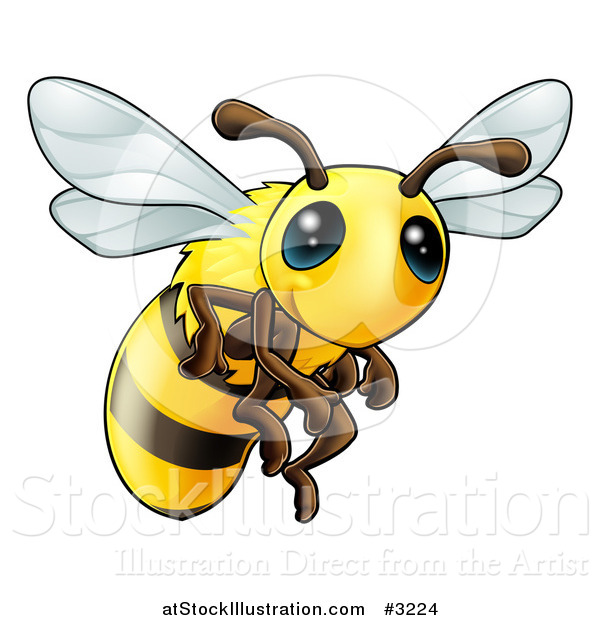 Vector Illustration of a Very Cute Bee with Big Eyes
