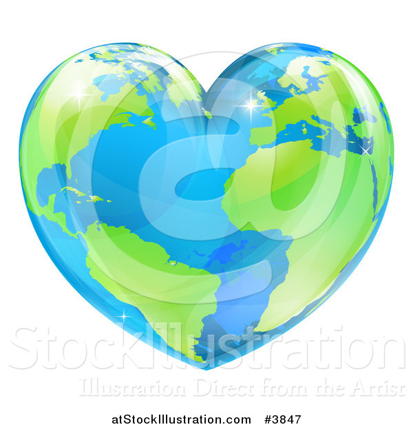 Vector Illustration of a Vibrant Shiny Green and Blue Heart Shaped Earth