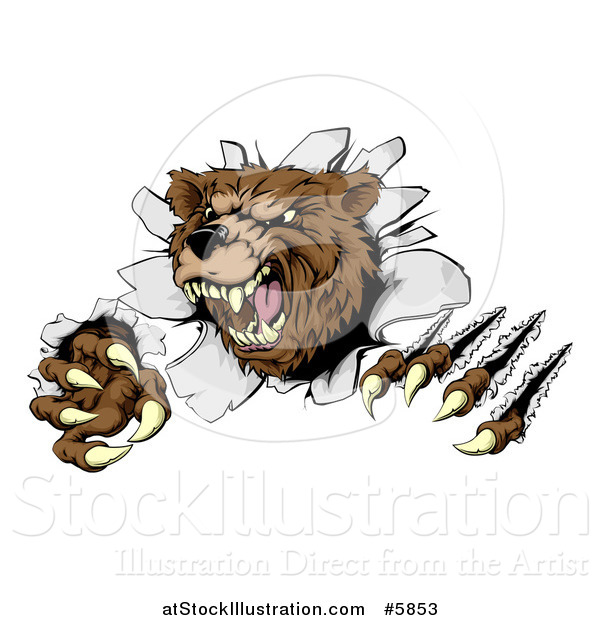 Vector Illustration of a Vicious Aggressive Bear Mascot Slashing Through a Wall