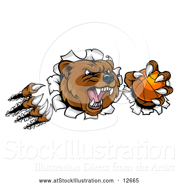 Vector Illustration of a Vicious Aggressive Bear Mascot Slashing Through a Wall with a Basketball in a Paw