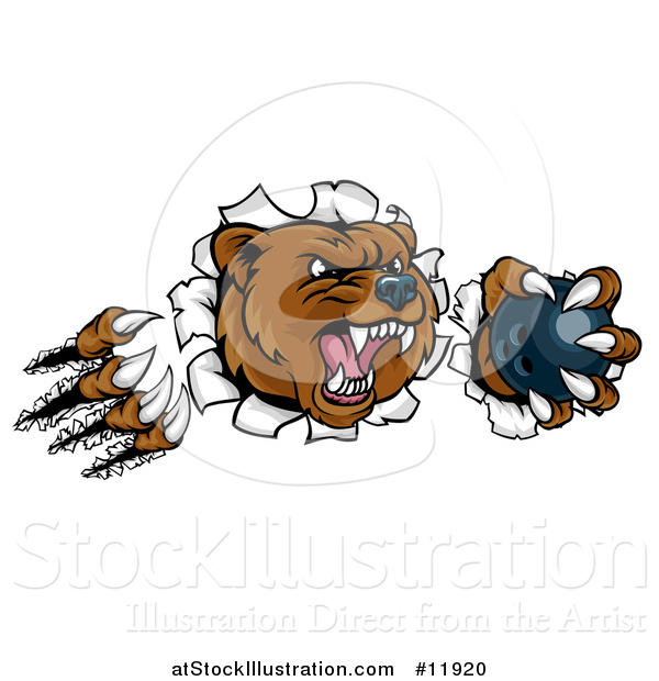 Vector Illustration of a Vicious Aggressive Bear Mascot Slashing Through a Wall with a Bowling Ball in a Paw
