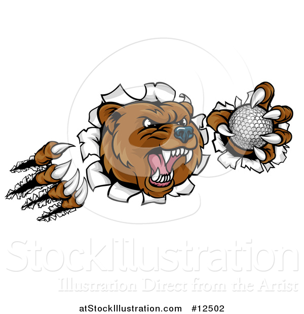 Vector Illustration of a Vicious Aggressive Bear Mascot Slashing Through a Wall with a Golf Ball in a Paw