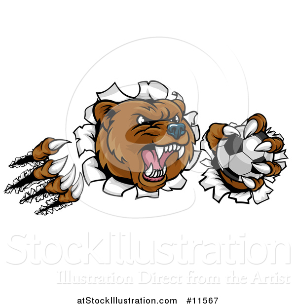 Vector Illustration of a Vicious Aggressive Bear Mascot Slashing Through a Wall with a Soccer Ball in a Paw
